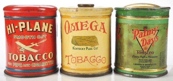 803: Lot of 3: Dome/Knob Top Tobacco Tins.