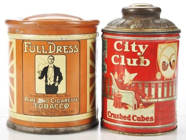 804: Lot of 2: Dome/Knob Top Tins Tobacco Tins.
