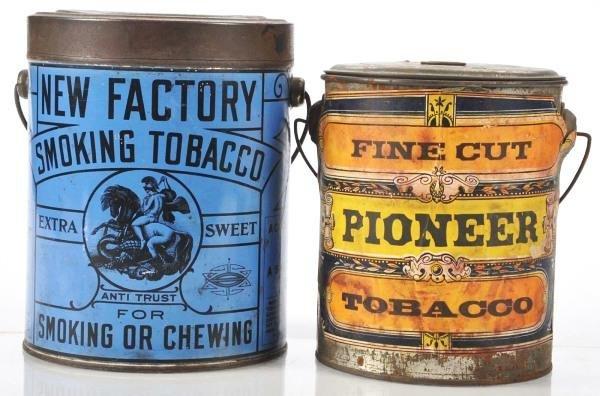 805: Lot of 2: Bail Handle Tobacco Pails.