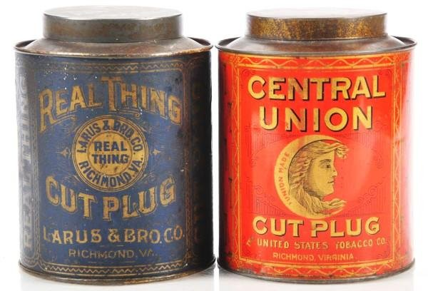 810: Lot of 2: Small Top Tobacco Canisters.