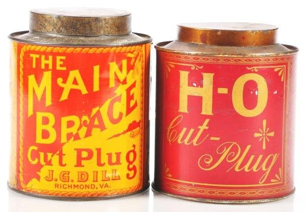 811: Lot of 2: Small Top Tobacco Canisters.
