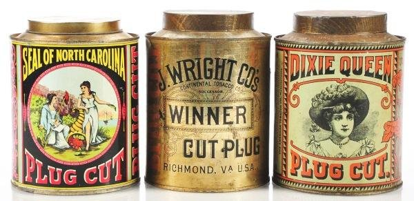 812: Lot of 3: Small Top Tobacco Canisters.