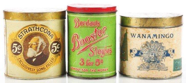 815: Lot of 3: Round Cigar Tins.