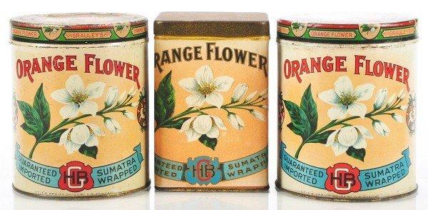 816: Lot of 3: Orange Flower Cigar Tins.