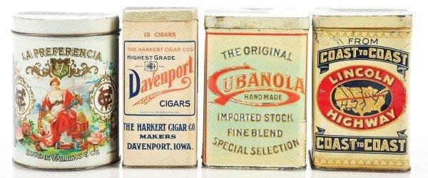 820: Lot of 4: Cigar Tins.