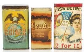 821 Lot of 3 Upright Cigar Tins