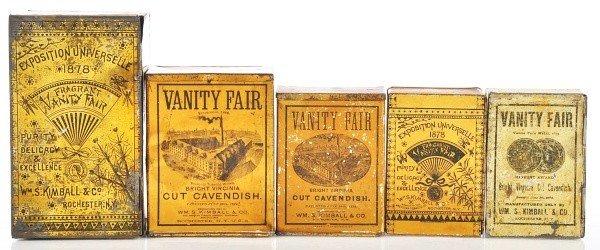 823: Lot of 5: Vanity Fair Square Corner Tins.