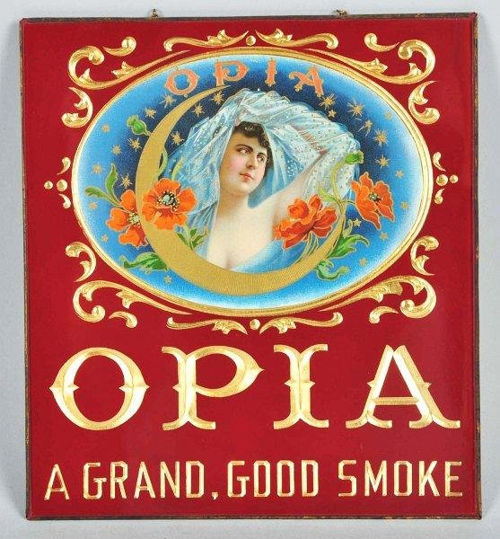 866: Opia Cigar Glass Sign.