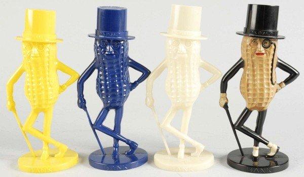 3: Lot of 4: Plastic Mr. Peanut Banks.