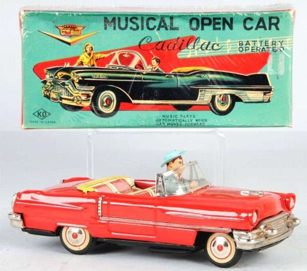 15: Tin Musical Cadillac Battery-Operated Toy.