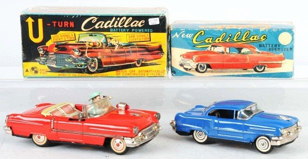 16: Lot of 2: Tin Cadillac Battery-Operated Toys.