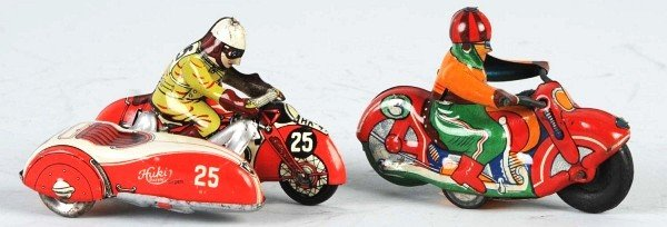 18: Lot of 2: Tin Motorcycle Friction & Wind-Up Toys.