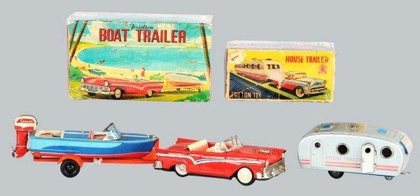 19: Lot of 2: Tin Trailer Vehicle Friction Toys.