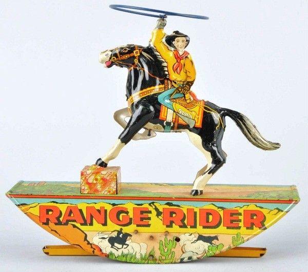Tin Litho Marx Range Rider Wind-Up Toy.