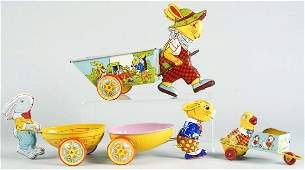 113: Lot of 4: Tin Litho Chein Easter Pull Toys.
