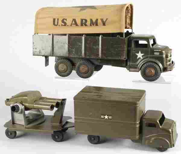 645: Lot of 2: Pressed Steel Army Truck Toys.