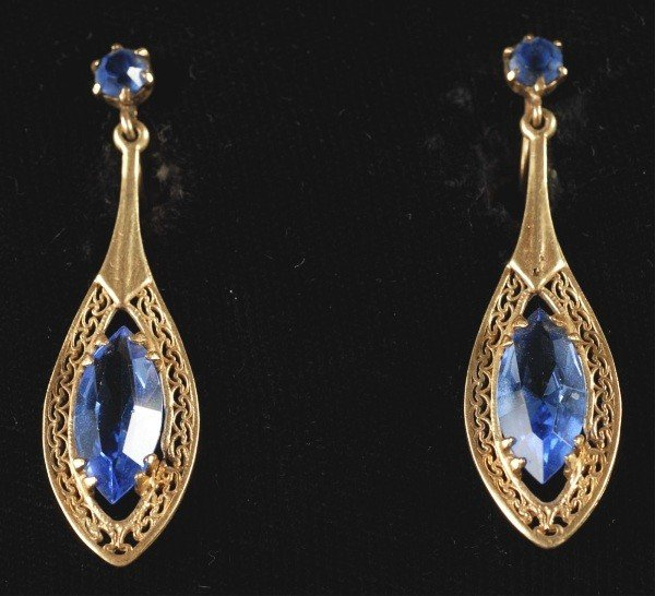 10: Pair of 14K Gold Earrings with Blue Stones.