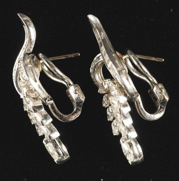 13: 14K W. Gold Diamond Pendant & Earrings.