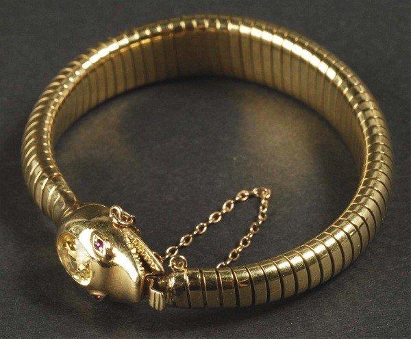21: Serpent/Snake Head Gold Expansion Band Bracelet.