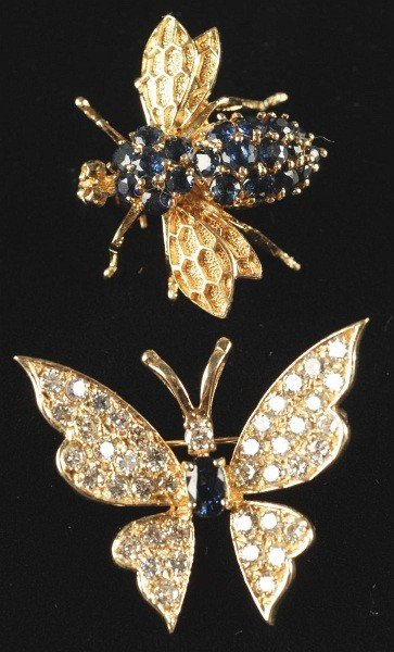 23: Lot of 2: 14K Gold Insect Pins.