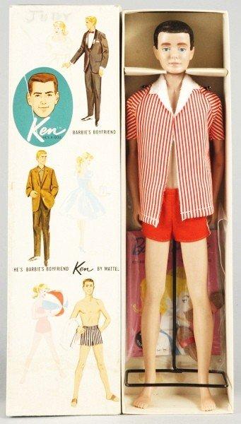 809: Brunette Flocked Hair Ken Doll.