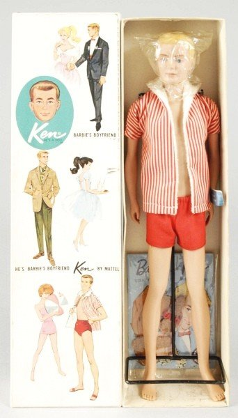 819: First Ken Doll with Blonde Flocked Hair in Box.