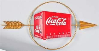 1720: Embossed Tin Coca-Cola Cooler Sign.
