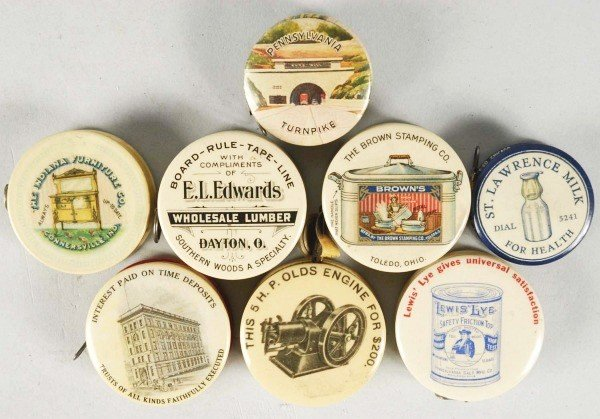 1: Lot of 8: Celluloid Advertising Tape Measures.