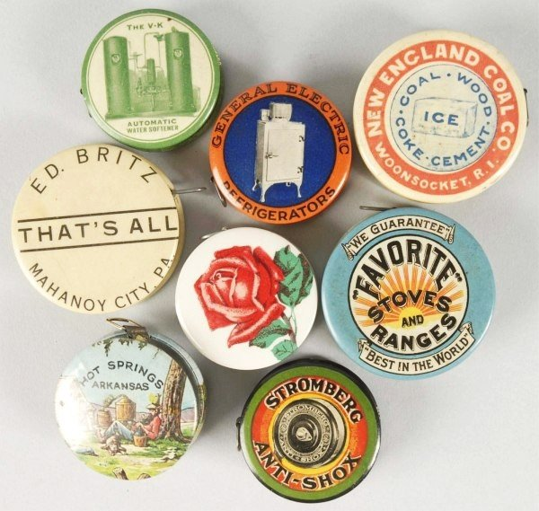 3: Lot of 8: Celluloid Advertising Tape Measures.