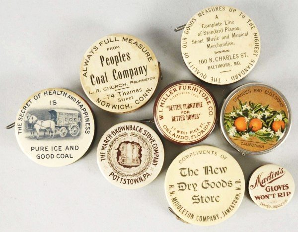 5: Lot of 8: Celluloid Advertising Tape Measures.