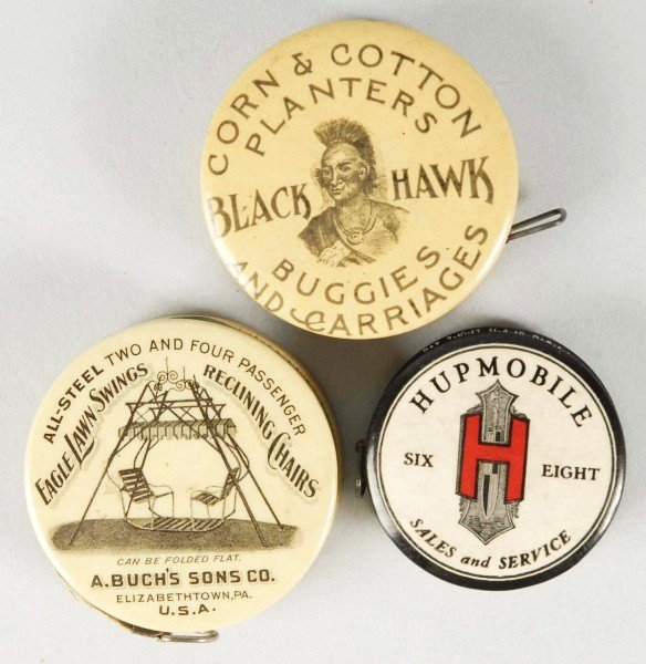 6: Lot of 3: Early Advertising Tape Measures.