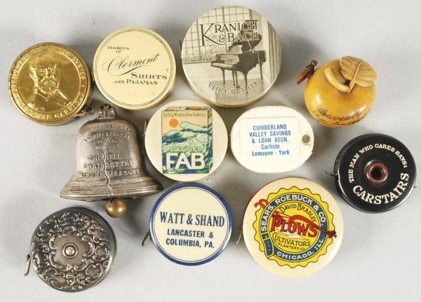 15: Lot of 11: Early Advertising Sewing Tape Measures