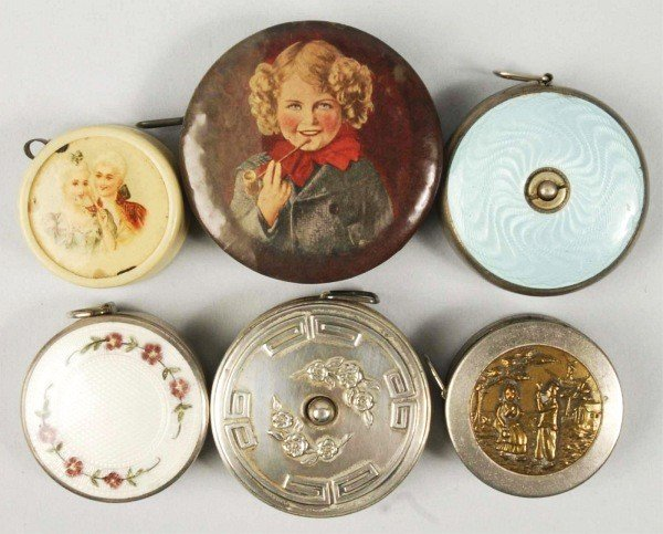 16: Lot of 6: Round Sewing Tape Measures.