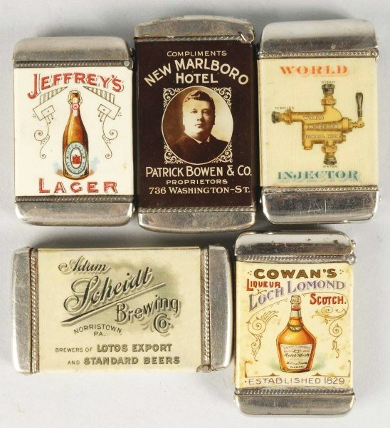 46: Lot of 5: Early Advertising Match Safes.