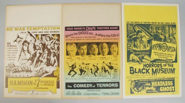 1: Lot of 3: Cardboard Movie Posters.