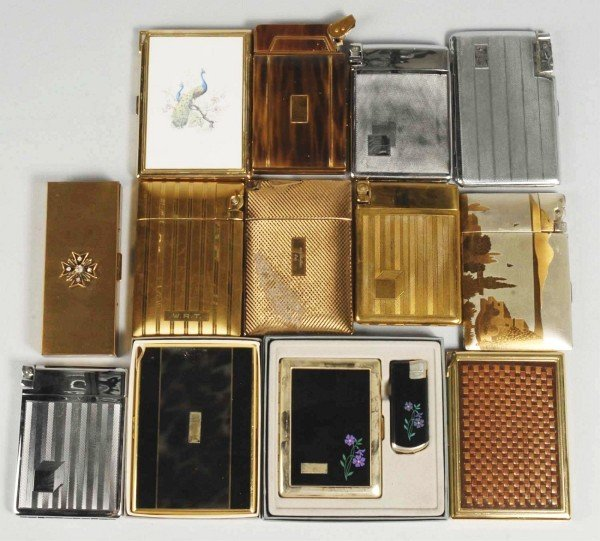 12: Lot of 13:  Cigarette Cases with Lighters.