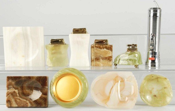 13: Lot of 10: Stone Lighters and Ash Trays.