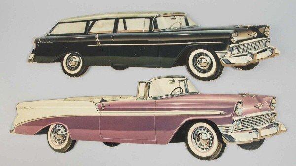 16: Lot of 2 Cardboard Chevy Car Dealership Die Cuts.