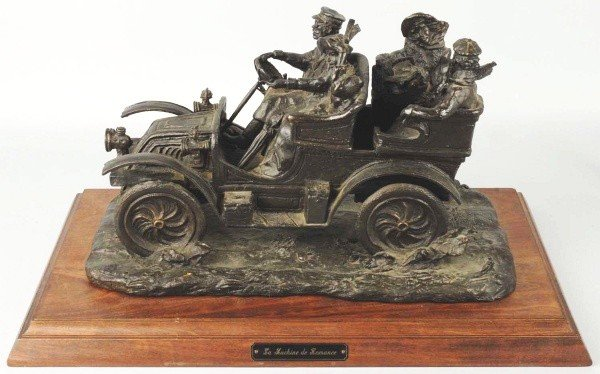 17: Large Signed Open Air Automobile Bronze.