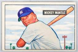 19: 1951 Bowman Mickey Mantle Rookie Card.