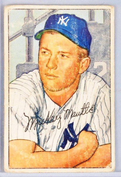 20: 1952 Bowman Mickey Mantle Baseball Card.