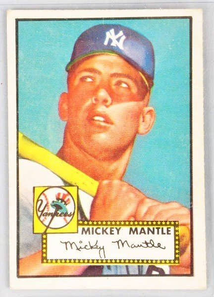 21: 1952 Topps Mickey Mantle Rookie Card.