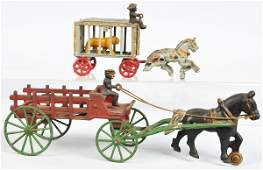 173: Lot of 2: Cast Iron Horse-Drawn Toys.