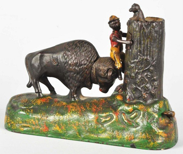 315: Cast Iron Butting Buffalo Mechanical Bank.