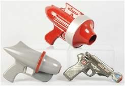 381: Lot of 3: Vintage Metal & Plastic Space Gun Toys.