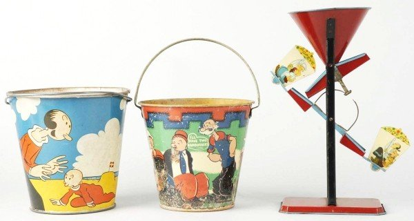 625: Lot of 3: Tin Litho Popeye Sand Toys.