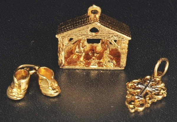 2: Lot of 3: 14K Y. Gold Charms.