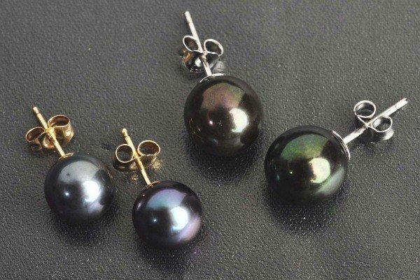 6: Lot of 2: Pairs of Black Pearl Earrings.
