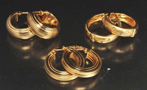 8: Lot of 3: Pairs of Y. Gold Hoop Earrings.
