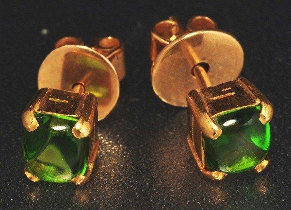 10: Pair of 14K Y. Gold TG Stone Earrings.